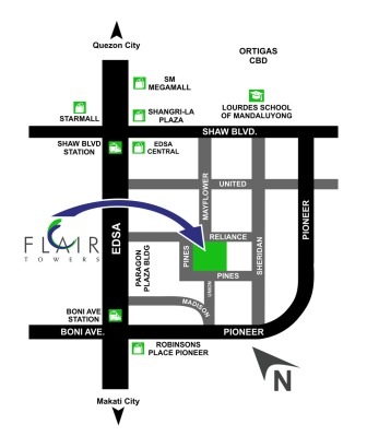 Flair Towers DMCI Reliance Mandaluyong Vicinity Map